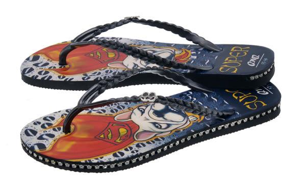 QWQ創意鞋- Super Dog 施華洛世奇水鑽夾腳人字拖鞋- 黑 (史帝夫系列 )