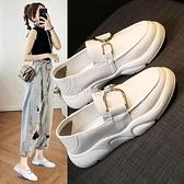 小白鞋女2021新款休閒百搭兩穿豆豆鞋春一腳蹬軟底運動平底單鞋 快速出貨