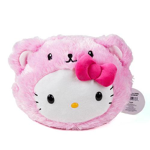 【震撼精品百貨】Hello Kitty 凱蒂貓~Sanrio HELLO KITTY童用大臉造型絨毛後背包(裝扮熊熊粉)#12776
