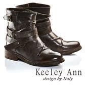 ★2016秋冬★Keeley Ann簡約百搭腰帶仿舊皺褶真皮機車短靴(咖啡色) -Ann系列