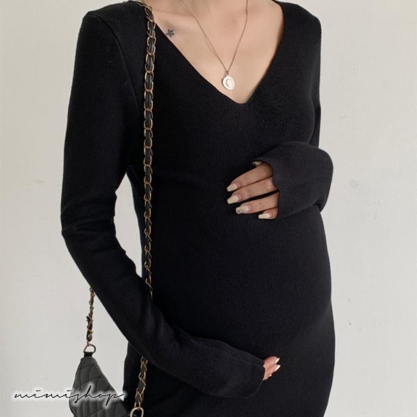 孕婦裝 MIMI別走【P52944】修身曲線 深V領長袖針織連身裙 洋裝