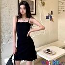 吊帶連身裙 暗黑系韓國復古百搭吊帶背心連身裙女修身顯瘦性感包臀短裙子寶貝計畫 上新