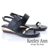 ★2019春夏★Keeley Ann簡約一字帶 金屬造型後環帶平底涼鞋(黑色)