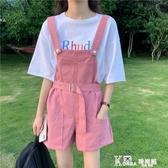 夏季2020新款韓版減齡學院風洋氣寬鬆顯高闊腿牛仔背帶短褲女ins