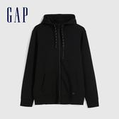 Gap男裝 簡約風格純色針織連帽外套 608028-正黑色
