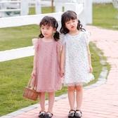 女童連身裙夏季童裝ins網紗袖兒童公主裙波點女寶寶裙子 流行花園