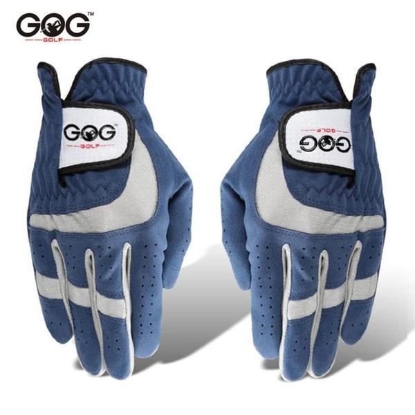 高爾夫球手套 耐磨透氣藍色超纖細布手套 左右手雙手 快速出貨