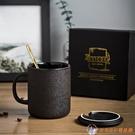 辦公室泡茶杯陶瓷馬克杯帶蓋勺咖啡杯男士水...