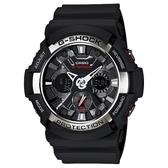 CASIO G-SHOCK 仿輪胎X型紋路潮流造型雙顯錶-黑X銀(GA-200-1A)