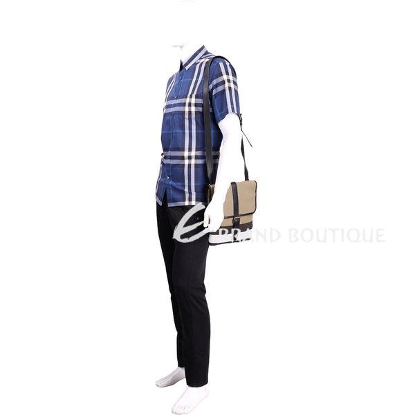 BURBERRY CANVAS 拼接帆布格紋肩背扁包(黑色) 1630049-01