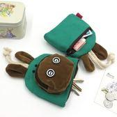 日韓可愛卡通抽繩鑰匙包小包帆布女零錢包布藝抽拉式多功能迷你包