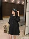 襯衫裙 黑色長袖連身裙秋裝2020年新款女韓版寬鬆學院風休閒百褶裙襯衫裙 coco