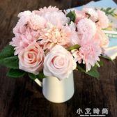 模擬玫瑰花束 歐式高客廳臥室辦公桌裝飾擺件假花絹花插花 小艾時尚
