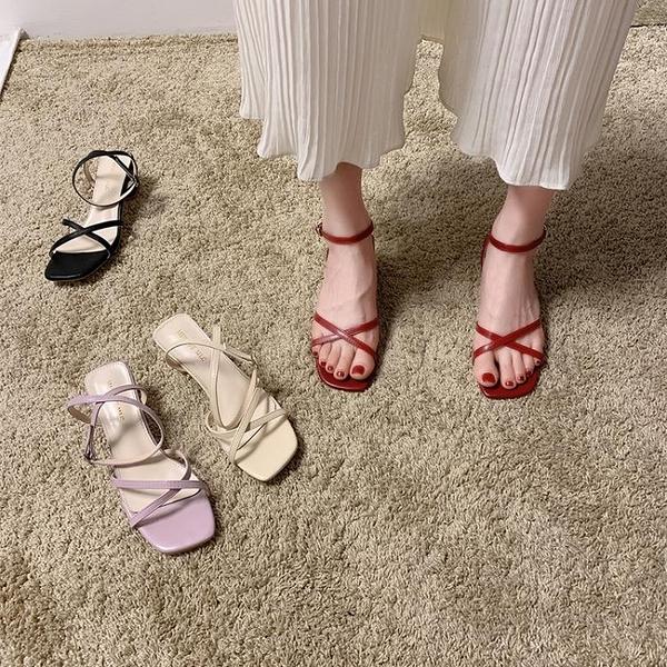 促銷全場九折 本期no1一字帶涼鞋女仙女風年新款夏季百搭羅馬中粗跟涼鞋子