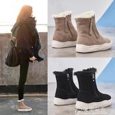雪地靴真皮雪地靴女新款鞋子時尚短靴加厚馬丁靴子冬季加絨棉鞋冬鞋 快速出貨