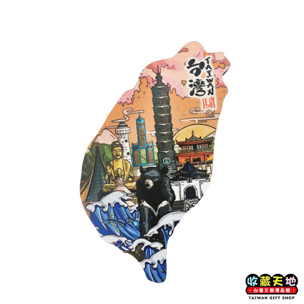 【收藏天地】寶島造型木質冰箱貼*愛台灣 ∕ 磁鐵 觀光 禮品 愛國 景點 手信