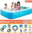 倍護嬰兒童寶寶充氣游泳池家庭大型海洋球池加厚戲水池成人浴缸【藍白305三环-豪华】