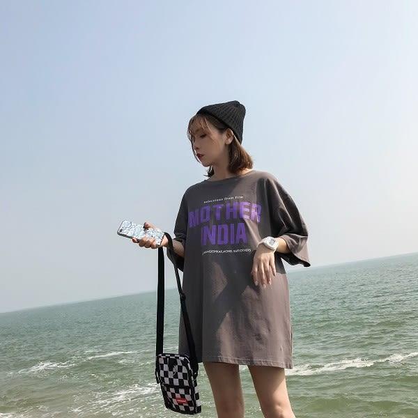 梨卡★現貨 - 韓國下衣失蹤款寬鬆中長版字母短袖長版上衣T恤BR204