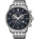 【送米奇電扇】CITIZEN 星辰 光動能萬年曆手錶-灰藍x銀/42mm BL8150-86L