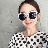 新款女士韓版羅馬假日墨鏡太陽眼鏡圓形瘦臉白色偏光鏡聖誕節下殺