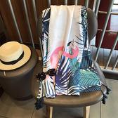 沙灘巾沙灘巾超大夏民族風防曬薄款流蘇棉麻大印花幾何圍巾大披肩潮 曼莎時尚
