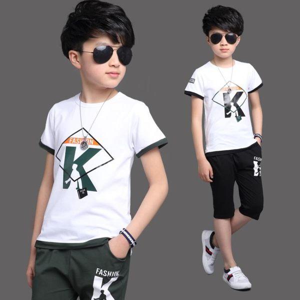 2018夏季新款兒童休閒輕便透氣兩件套短袖男孩帥氣套裝 js600『科炫3C』