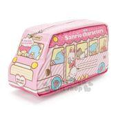 〔小禮堂〕Sanrio大集合 巴士造型防水拉鍊筆袋《粉》化妝包.收納包.鉛筆盒 4901610-98275