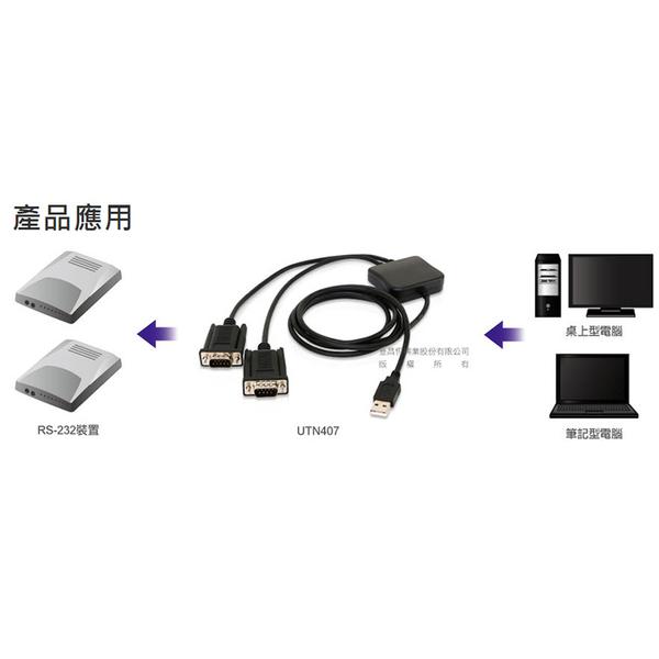 Uptech 登昌恆 UTN407 USB to 2-Port RS-232     (UTN-407 )