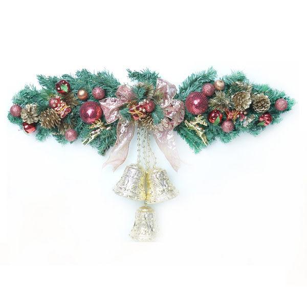 聖誕幸福雙鐘裝飾樹藤(紅金色)(大型)(壁飾門飾)