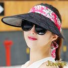 防曬帽子-女款戶外抗UV紫外線蕾絲大眉遮陽空心帽J7514B JUNIPER