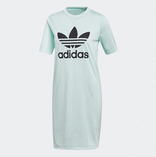 ADIDAS ORIGINALS TEE DRESS 緞面 蒂綠 黑LOGO 連身裙 女 (布魯克林) DV0126