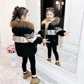 女童棉衣2020新款兒童洋氣冬裝加絨派克服時尚外套棉襖中長款棉服 快速出貨