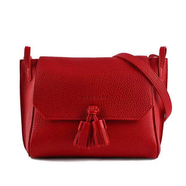 【LONGCHAMP】 PENELOPE中號流蘇牛皮斜背包(紅色) 2068843545