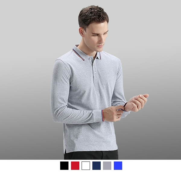 【晶輝團服制服】LS-7718*精疏棉布料長袖領口袖口配色長袖網眼POLO衫