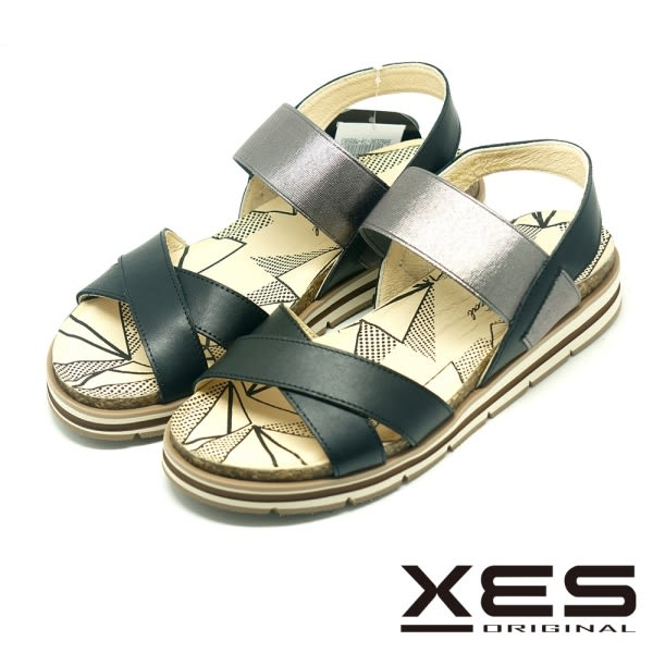 XES 羅馬涼鞋 交叉設計 有型好穿 軟Q鞋墊 舒適大底_黑色