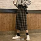 格子a字裙半身裙女秋冬2020新款春秋季高腰顯瘦開叉長裙子一步裙 快速出貨