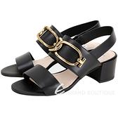 TOD'S 寬版金屬環釦粗跟涼鞋(黑色) 1920289-01