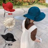 帽子 兒童 純色 漁夫帽 遮陽 防曬 盆帽