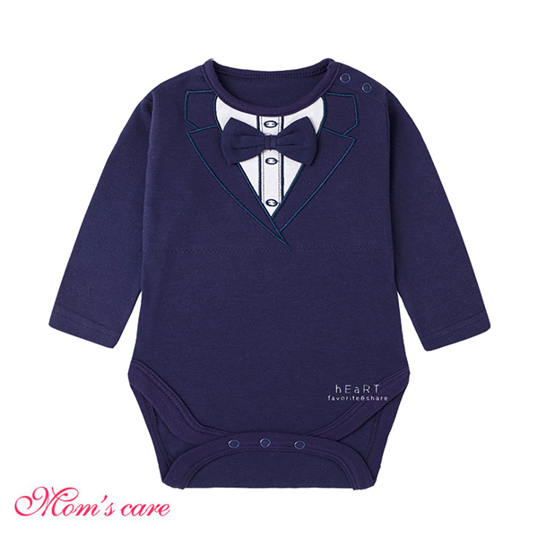 Moms care紳士藏青西裝長袖包屁衣 連體衣 爬爬服 嬰兒裝 兔裝 哈衣