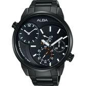 ALBA 雅柏 ACTIVE 二地時區限定手錶-鍍黑/46mm DM04-X001SD(A2A001X1)