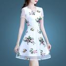 白色洋裝女夏季2021新款夏裝流行女裝氣質網紗碎花夏天雪紡 快速出貨