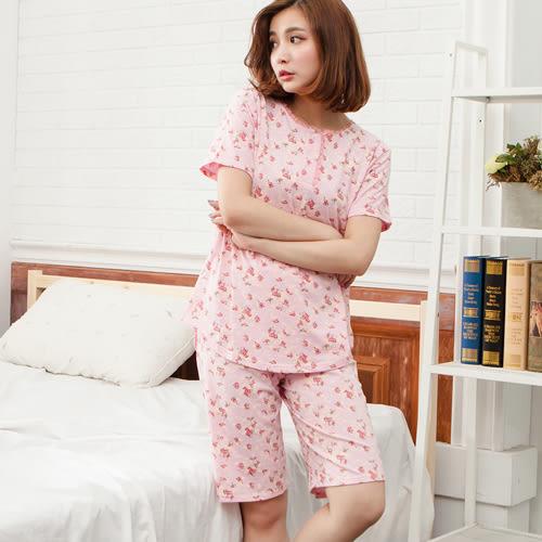 睡衣素雅小碎花圓領棉質成套休閒服 -粉-波曼妮亞