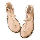 amai時尚金鏈鑲嵌T字夾腳涼鞋 杏