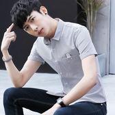 短袖條紋襯衫 男夏季男士休閒潮流修身條紋襯衣《印象精品》t441