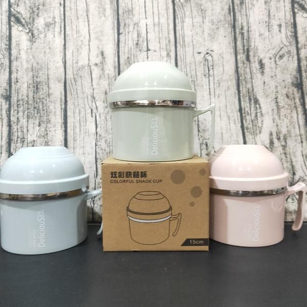 炫彩快餐杯 雙層杯麵碗組 兒童碗 泡麵碗 餐碗 雙層隔熱 不鏽鋼 304不繡鋼