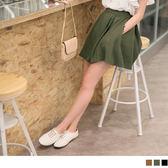 OB嚴選《CA1013-》後腰鬆緊打褶設計純色傘襬褲裙.3色--適 S~XL