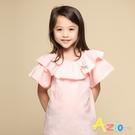 Azio 女童 上衣 領口波浪造型兔子蝴蝶結別針細格紋短袖上衣(粉) Azio Kids 美國派 童裝
