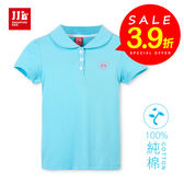 JJLKIDS 女童 夏日陽光女孩素面短袖POLO衫(天藍)