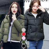 【韓國KW】(現貨) 秋冬個性連帽簡約素面羽絨棉外套