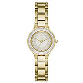 DKNY 低調巴黎簡約都會腕錶-鑽框白x金